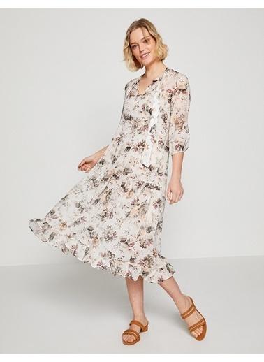 Koton Çiçekli Midi Elbise Bej